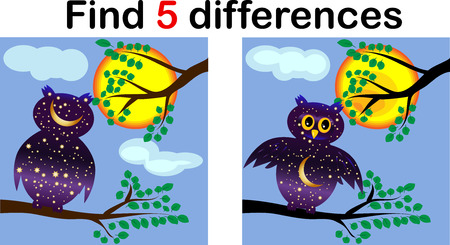 Cartoon Illustration of Find the Differences Educational Activity Game for Children with Owls Ilustração