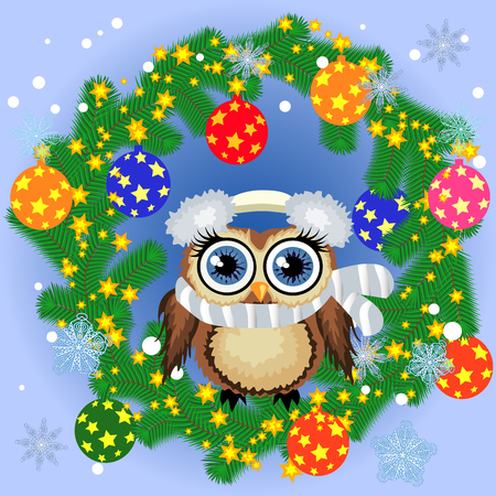 A Christmas background with owl, snowflakes, coniferous branches, decorated with balls, stars, ribbons Illustration