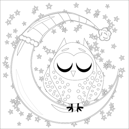 Coloring book for adult and older children. Coloring page with an owl on the moon among the stars. Stock Illustratie