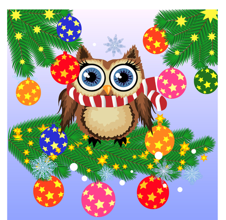Lovely cartoon owl on a spruce branch decorated with balls, garlands. Christmas card Illustration
