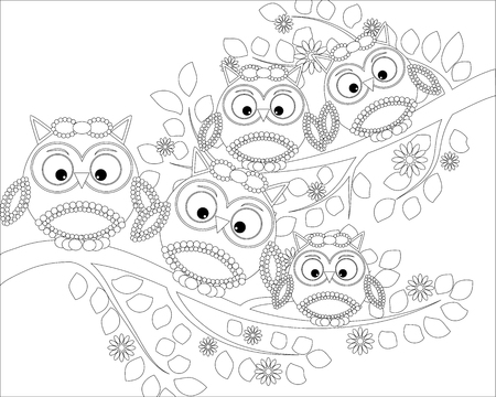 Coloring book for adult and older children. Coloring page with cute owl and floral frame. Outline drawing in style Stock Illustratie