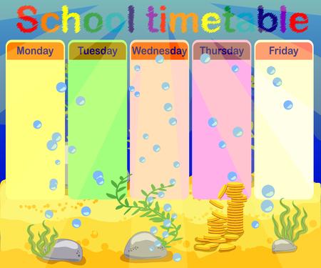 School timetable with marine themes, table, underwater world Vektoros illusztráció