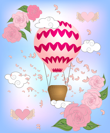 Air balloon with roses in the basket and ribbon with signature I really love you Valentines day illustration Banco de Imagens - 126656858