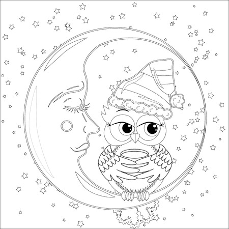 Coloring book for adult and older children. Coloring page with an owl on the moon among the stars.