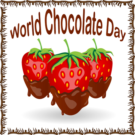 World Chocolate Day. A poster with an inscription and a strawberry in chocolate. Red berry strawberry dipped in melting dark chocolate, fruit, fondue recipe, valentine concept, transparent