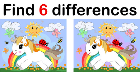 Find differences, education game for children. Fairy ponies and rainbow