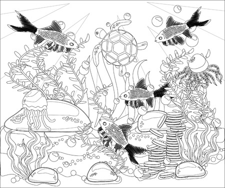 Underwater world. Anti stress coloring book for adult. Outline drawing coloring page. Black and white in style. Sea, shells. Marine theme.