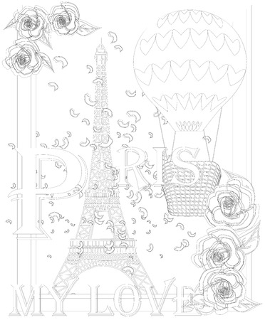 Zen art stylized Eiffel tower and air balloon. Sketch, poster, children or adult coloring pages. France collection.Boho style