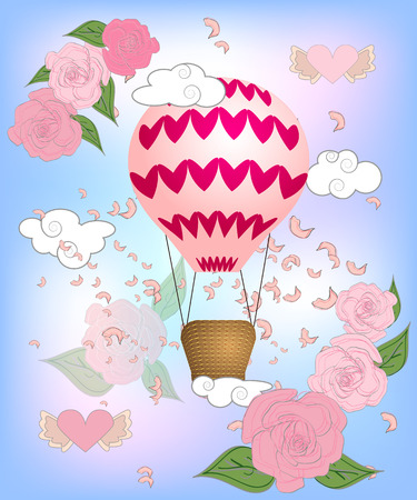 Air balloon with roses in the basket and ribbon with signature I really love you Valentines day illustration Ilustração
