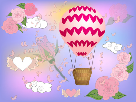 Air balloon with roses in the basket and ribbon with signature I really love you Valentines day illustration Banco de Imagens - 126656925