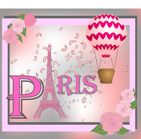 Romantic background with Eiffel Tower and pink roses. Vetores
