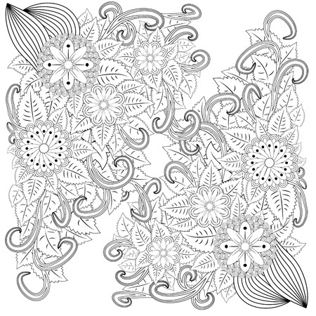 illustration zentangl. Flower frame. Coloring book. Antistress for adults and children. The work was done in manual mode. Black and white.