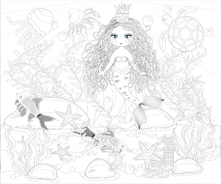 Beautiful mermaid. Underwater world. Anti stress coloring book for adult. Outline drawing coloring page. Black and white style. Sea, shells. Marine theme.