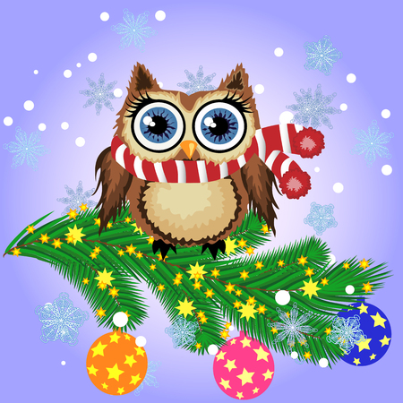 Lovely cartoon owl on a spruce branch decorated with balls, garlands. Christmas card