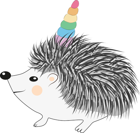 A cute cartoon hedgehog with a unicorn horn. Concept everyone can be a unicorn Vectores