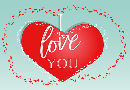 Happy valentine's day. Love card. inscription I love you on a red heart