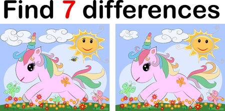 Find the difference the two funy little Unicorn. Children riddle entertainment. Sheet different toys construction equipment. Game tasks for attention. Mathematical exercise.