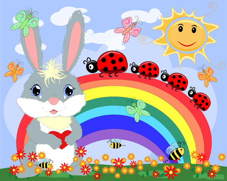 Bunny with a heart in a meadow near the rainbow. Spring, love, postcard Illustration