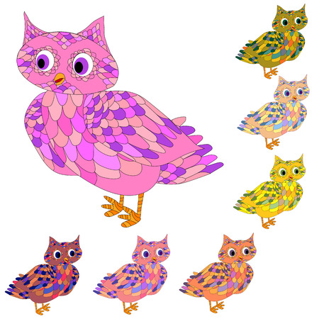 Hipster owls in doodle style. Hand drawn set of cute birds. Design for prints and T-shirts. Stock Illustratie