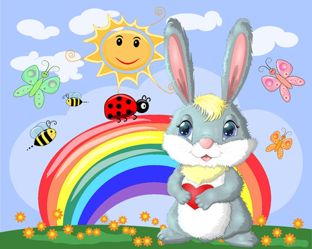 Bunny with a heart in a meadow near the rainbow. Spring, love, postcard