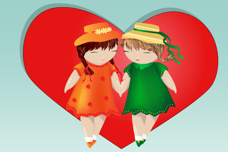 Happy valentine's day. A pair of girls on the background of the heart. The concept of same-sex love, a pair of two women