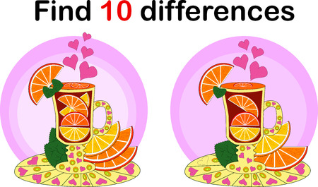 Find differencesTeacup for children. Herbal infusion