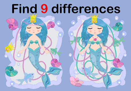 Education game for preschool kids, find the differences. Beautiful mermaid with a string of pearls. Cartoon illustration. Çizim