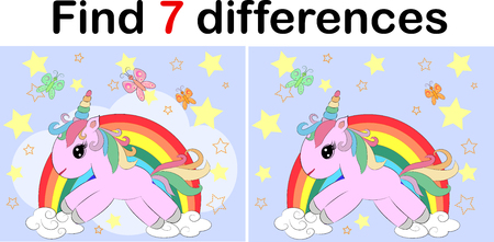 Find the difference the two funy little Unicorn. Children riddle entertainment. Sheet different toys construction equipment. Game tasks for attention. Mathematical exercise. Illustration