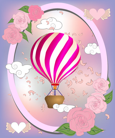 Air balloon with roses in the basket and ribbon with signature I really love you Valentines day illustration Illustration