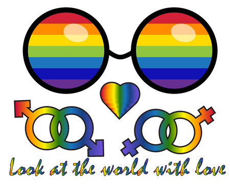 Inscription Look at the world with love. LGBT rights symbol. Love is love concept with eyeglasses. Gay parade slogan. LGBT gay and lesbian pride sticker with rainbow Illustration