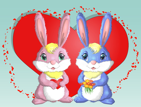 Happy valentine's day. Love card. A pair of cute bunnies girl and boy, pink and deep against a red heart. Concept of love confession, marriage proposal, relationship, couple