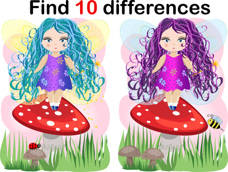 Find differences education game for children, fairy in the nature.