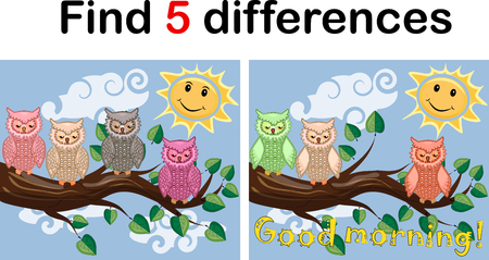 Children games: Find differences. Little cute owl sits on the tree branch. Illustration