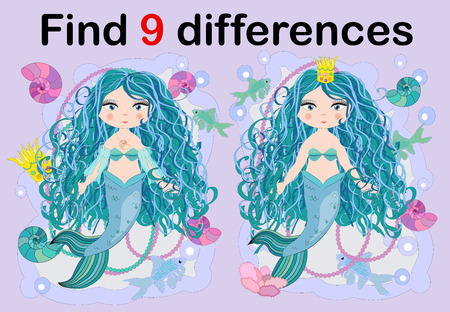 Education game for preschool kids, find the differences. Beautiful mermaid with a string of pearls. Cartoon illustration. Illustration