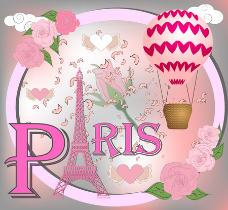Romantic background with Eiffel Tower and pink roses.