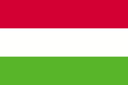 Bandera de Hungría, colores oficiales y proporción correcta. Bandera Nacional de Hungría. Ilustración de vector
