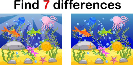 Underwater world, ocean floor with octopus, submarine, whale, fish, corals and sea shells. Educational game for kids: find ten differences. Archivio Fotografico - 113465497