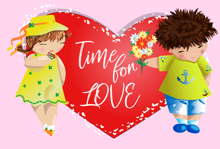 Happy valentine's day. Love card. The boy gives the girl a bouquet on the background of the heart. Declaration of love, proposal to marry, concept Ilustrace