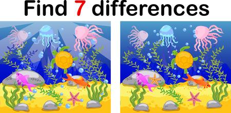 Mundo submarino, fondo marino con pulpos, submarinos, ballenas, peces, corales y conchas marinas. Juego educativo para niños: encuentra diez diferencias