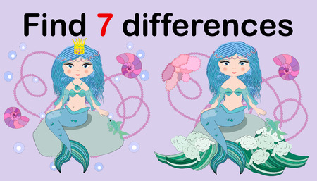 Find the difference the two illustration with sea mermaid. Children funny riddle entertainment. Sheet different toys construction equipment. Game tasks for attention. Mathematical exercise. 矢量图像