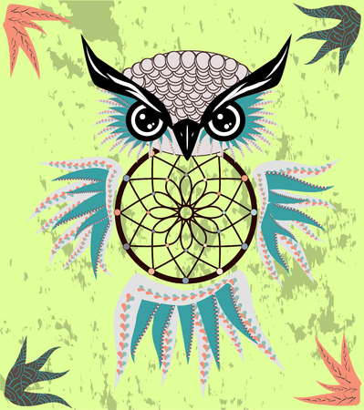 Dreamcatcher owl boho style cartoon character abstract bohemian object feathers.