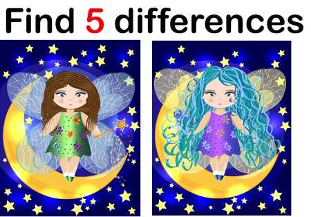 Find differences education game for children, fairy in the moon
