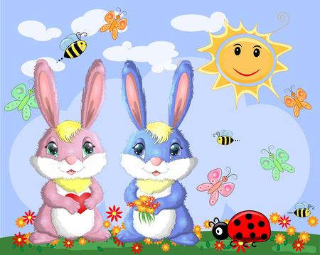 Ein paar Hasen, ein Junge und ein Mädchen auf einer Lichtung in der Nähe des Regenbogens. Frühling, Liebe, Postkarte Vektorgrafik