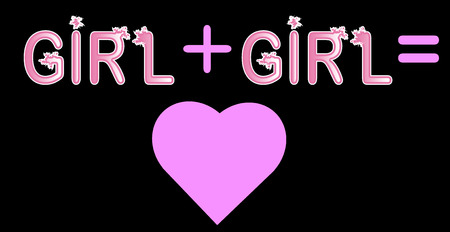 Girl plus girl - inscription in pink letters, lgtb concept