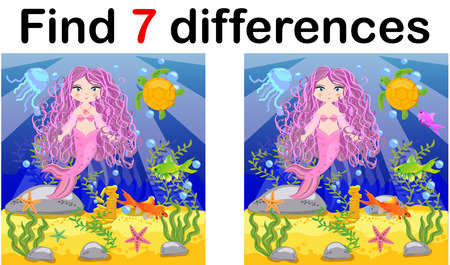 Game for children: find differences, little mermaid and sea world.