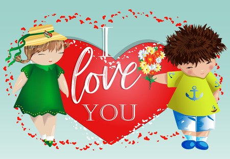 Happy valentine's day. Love card. The boy gives the girl a bouquet on the background of the heart. Declaration of love, proposal to marry, concept