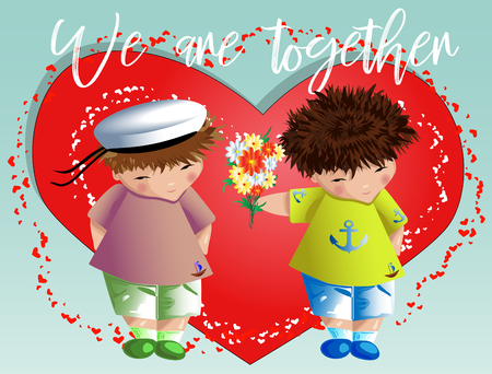 Happy valentine's day. The boy gives the boy a bouquet on the background of the heart. Declaration of love, a proposal to marry, the concept of same-sex homosexual relations Illustration