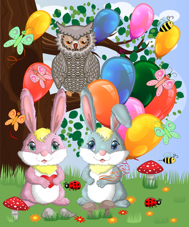 Two cute bunny with balls in a forest glade. Boy and girl, concept spring, love, postcard  イラスト・ベクター素材
