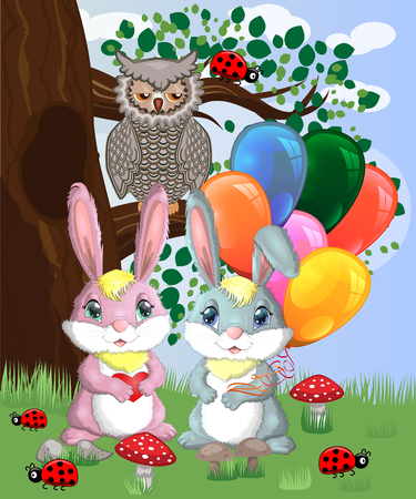 Two cute bunny with balls in a forest glade. Boy and girl, concept spring, love, postcard Illustration