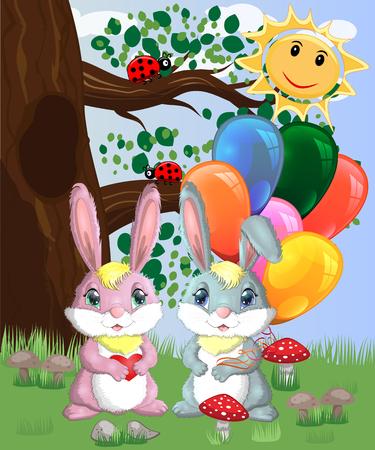 Zwei süße Häschen mit Bällen in einer Waldlichtung. Junge und Mädchen, Konzeptfrühling, Liebe, Postkarte
